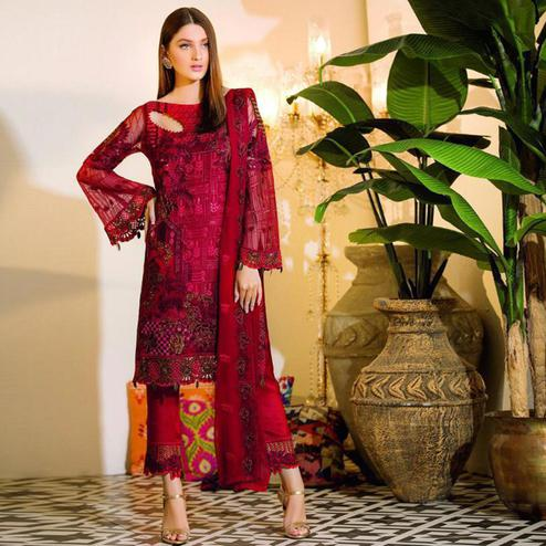 Groovy Red Colored Party Wear Embroidered Net Pant Style Suit