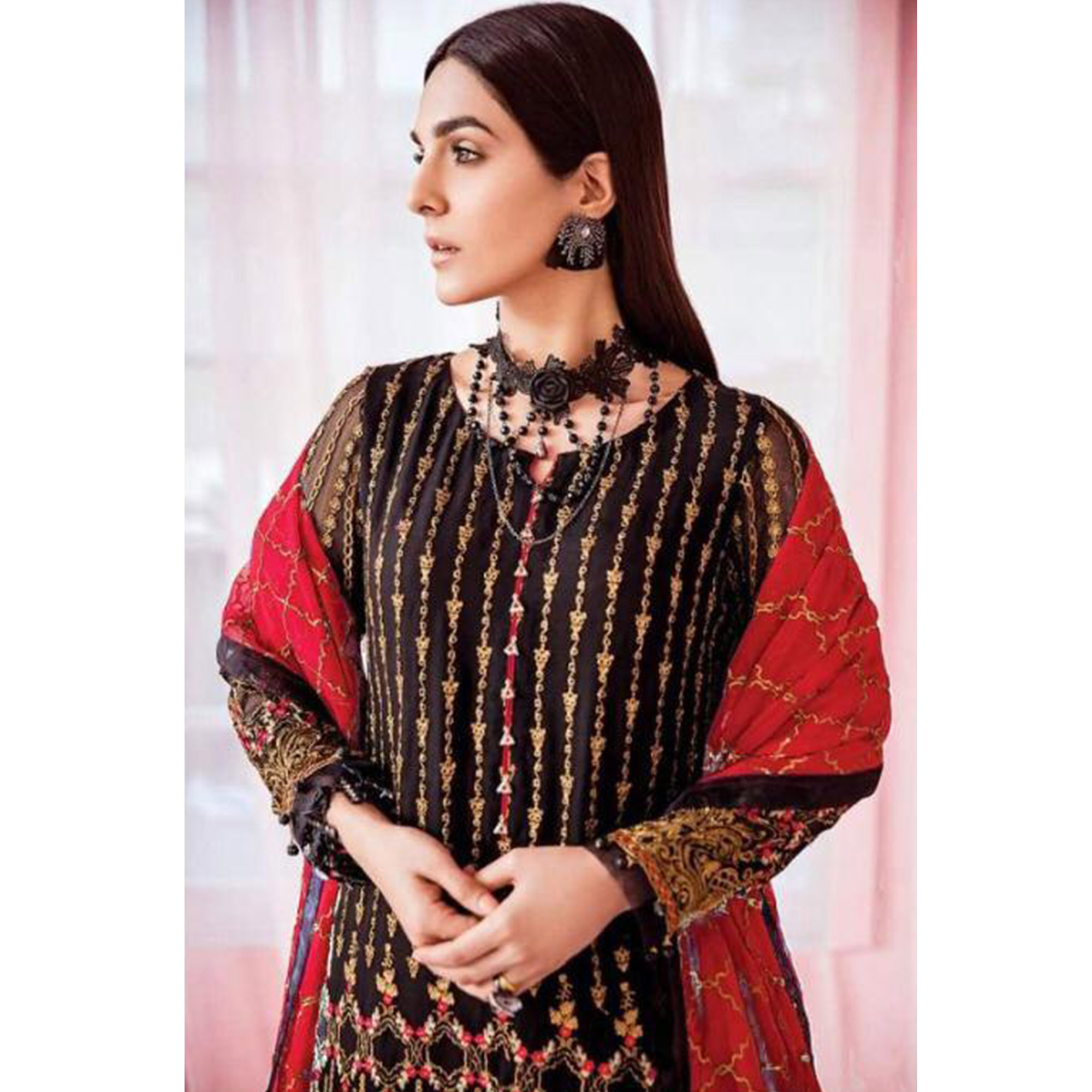 Graceful Brown Colored Party Wear Embroidered Georgette Pant Style Suit