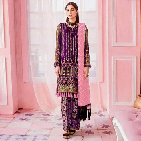 Blooming Violet Colored Party Wear Embroidered Georgette Pant Style Suit
