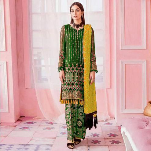Charming Green Colored Party Wear Embroidered Georgette Pant Style Suit