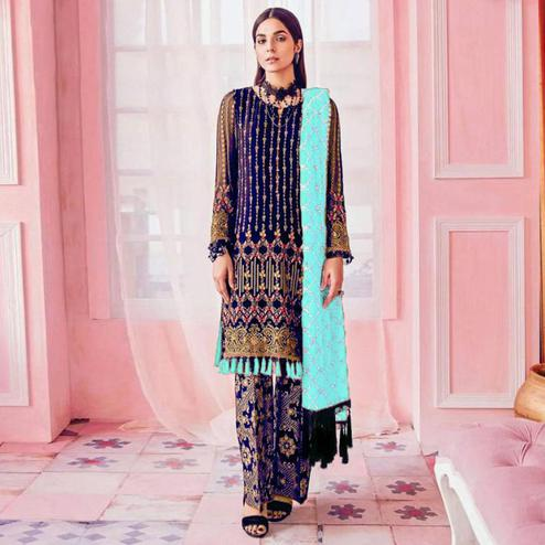 Jazzy Navy Blue Colored Party Wear Embroidered Georgette Pant Style Suit