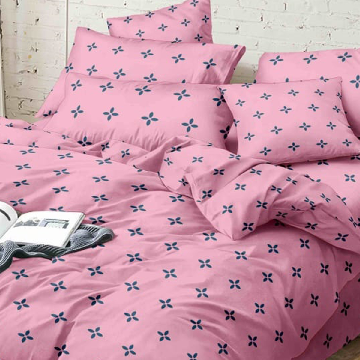 Capricious Pink Colored Printed Queen Sized Bedsheet With 2 Pillow Covers
