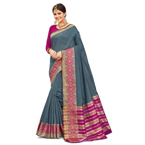 Intricate Grey Colored Festive Wear Woven Kanjivaram Silk Saree
