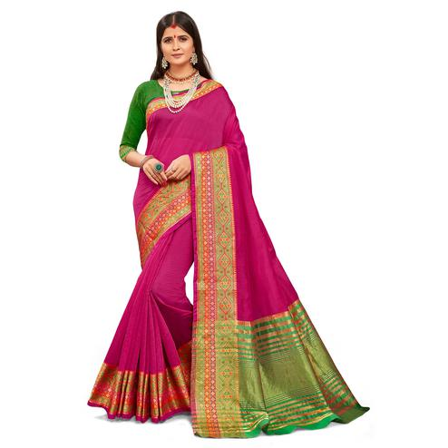 Arresting Dark Pink Colored Festive Wear Woven Kanjivaram Silk Saree