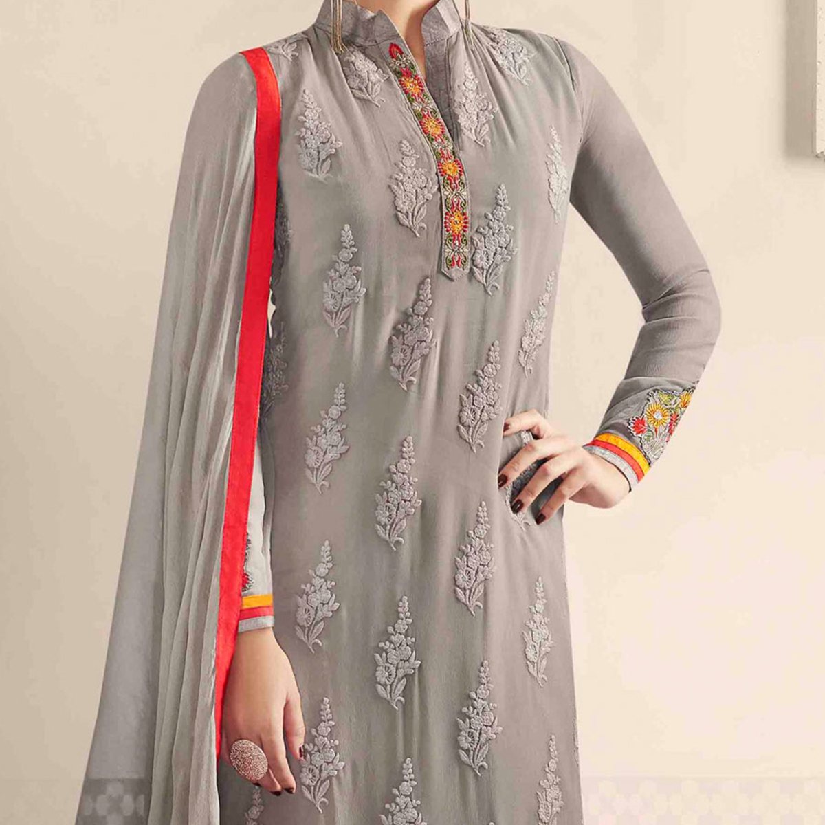 Grey Party Wear Salwar Suit