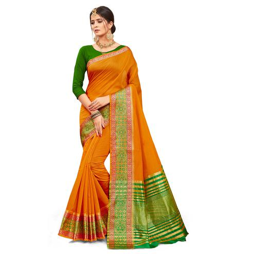 Trendy Orange Colored Festive Wear Woven Kanjivaram Silk Saree