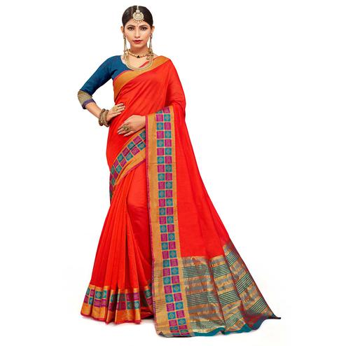 Elegant Red Colored Festive Wear Woven Kanjivaram Silk Saree