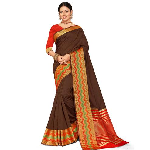 Radiant Brown Colored Festive Wear Woven Kanjivaram Silk Saree