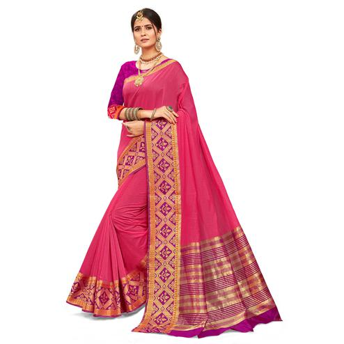 Pleasant Pink Colored Festive Wear Woven Kanjivaram Silk Saree