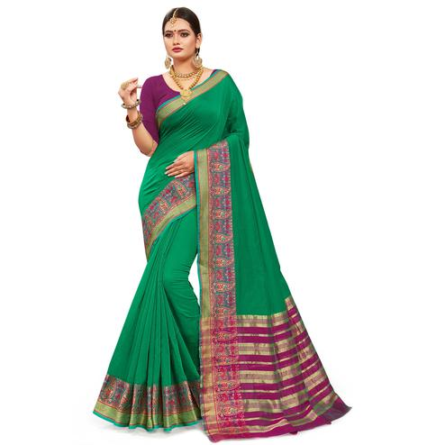 Opulent Light Green Colored Festive Wear Woven Kanjivaram Silk Saree