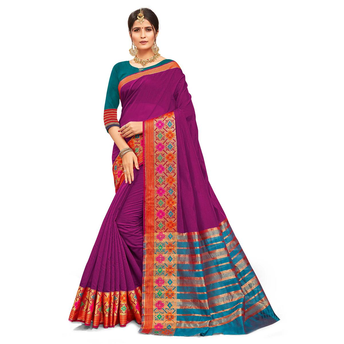 Energetic Purple Colored Festive Wear Woven Kanjivaram Silk Saree