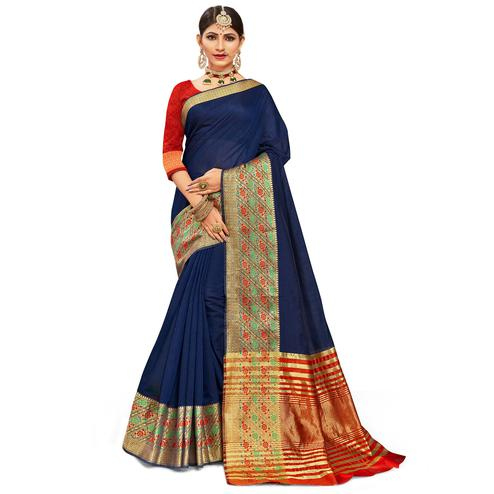 Glowing Navy Blue Colored Festive Wear Woven Kanjivaram Silk Saree