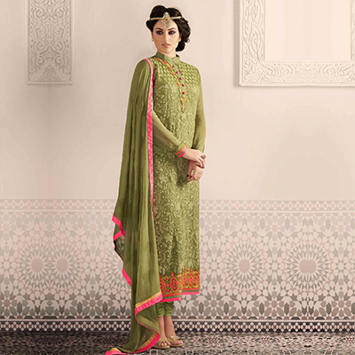 Olive Green Embroidered Suit