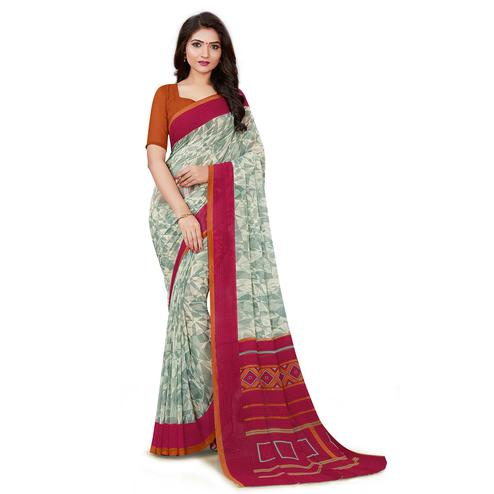 Charming Grey Colored Casual Wear Printed Georgette Saree