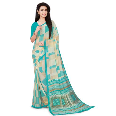 Jazzy Beige-Aqua Green Colored Casual Wear Printed Georgette Saree