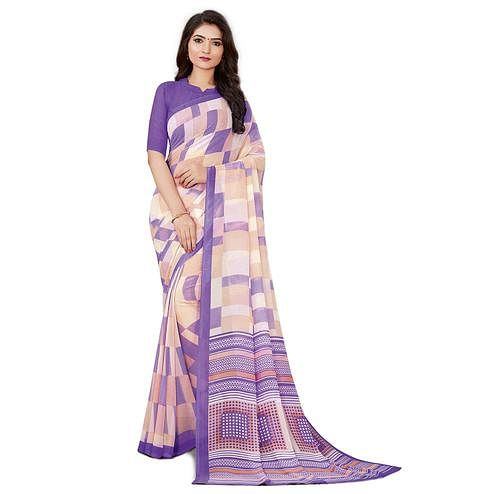 Delightful Violet Colored Casual Wear Printed Georgette Saree
