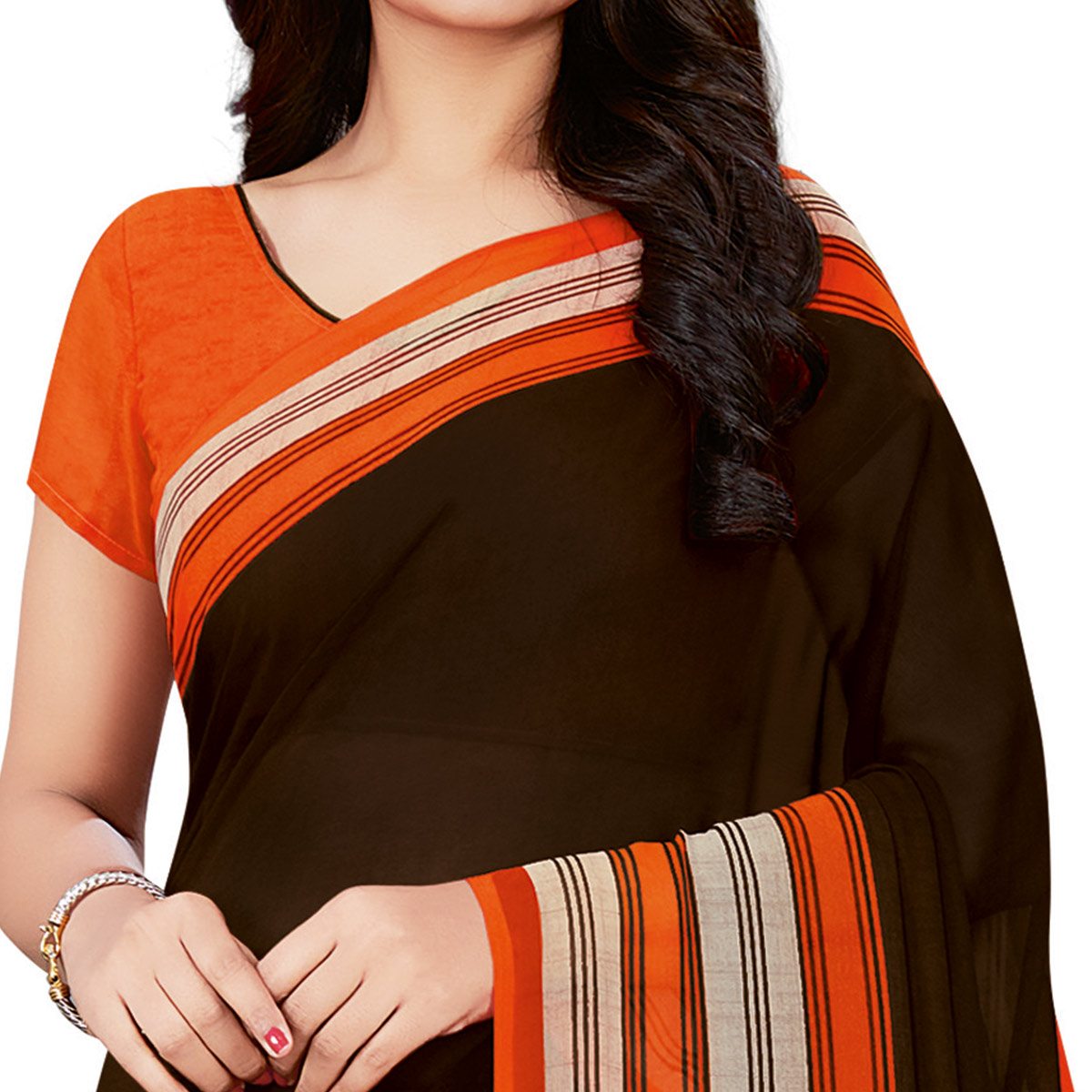 Engrossing Black Colored Casual Wear Printed Georgette Saree