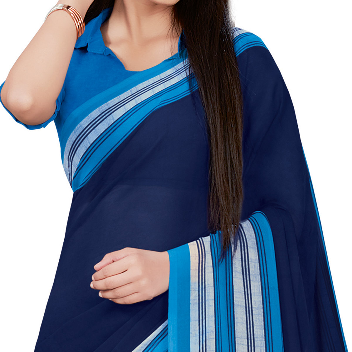Captivating Navy Blue Colored Casual Wear Printed Georgette Saree