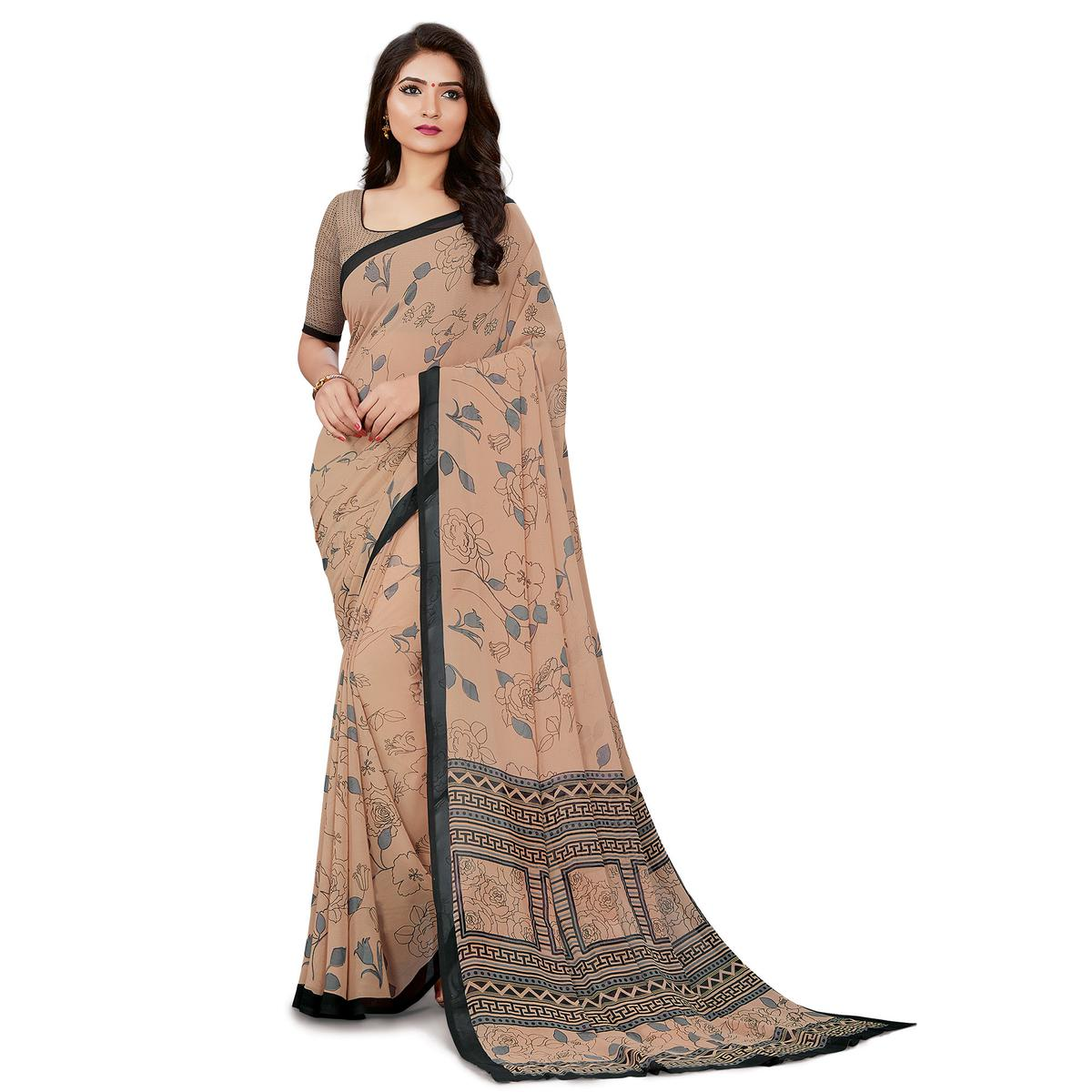 Innovative Light Brown Colored Casual Wear Printed Georgette Saree