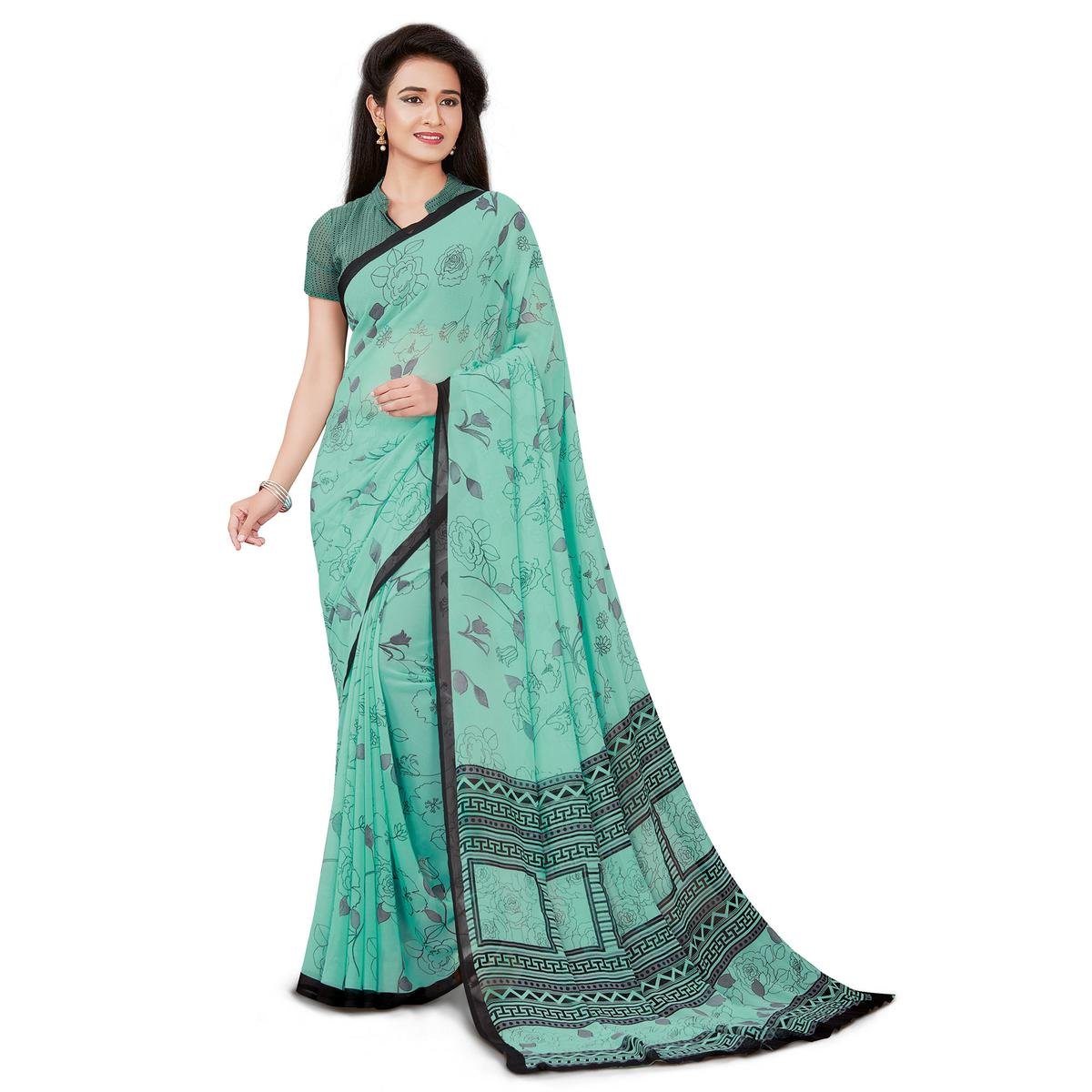 Eye-catching Mint Green Colored Casual Wear Printed Georgette Saree