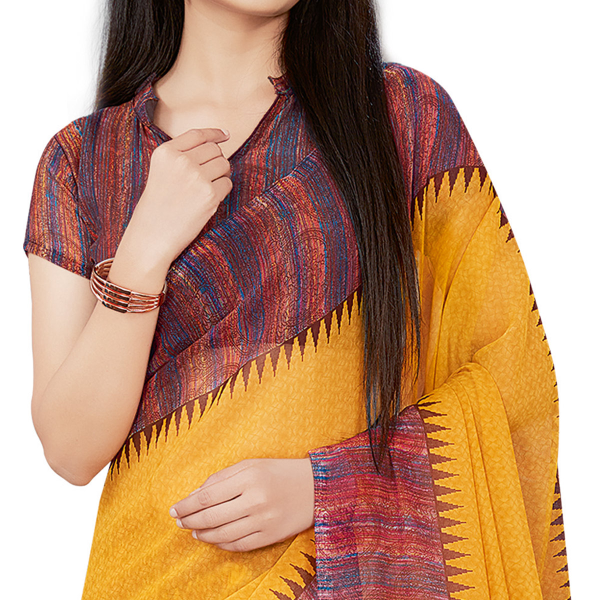 Fantastic Yellow Colored Casual Wear Printed Georgette Saree