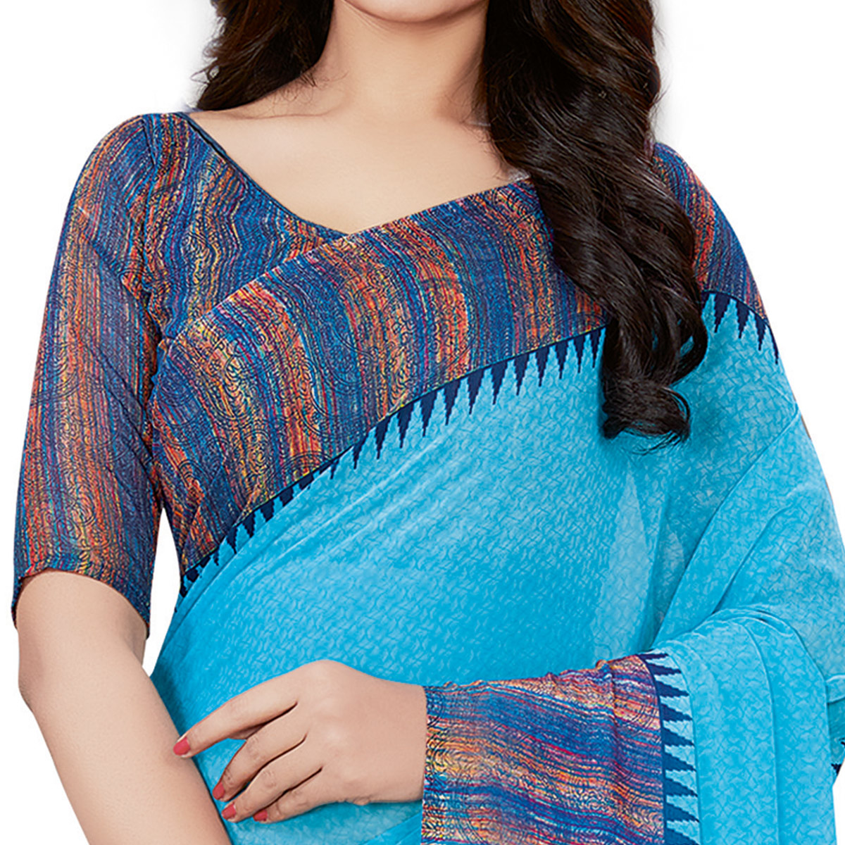 Amazing Sky Blue Colored Casual Wear Printed Georgette Saree