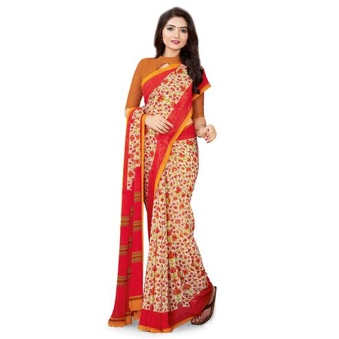 Gorgeous Beige Colored Casual Wear Printed Georgette Saree