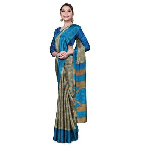 Amazing Beige-Blue Colored Casual Wear Printed Crepe Saree