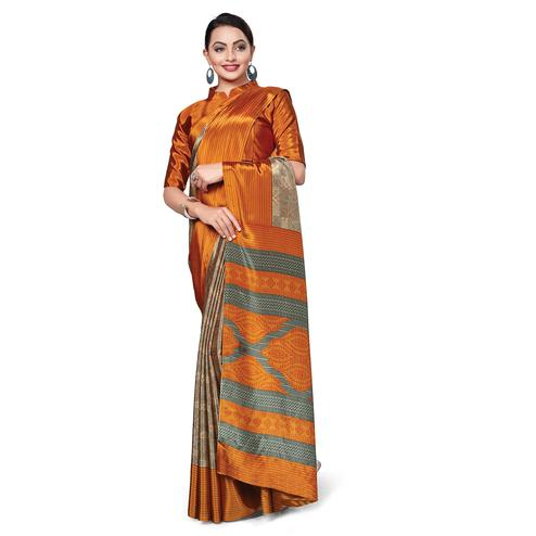 Gorgeous Beige-Orange Colored Casual Wear Printed Crepe Saree