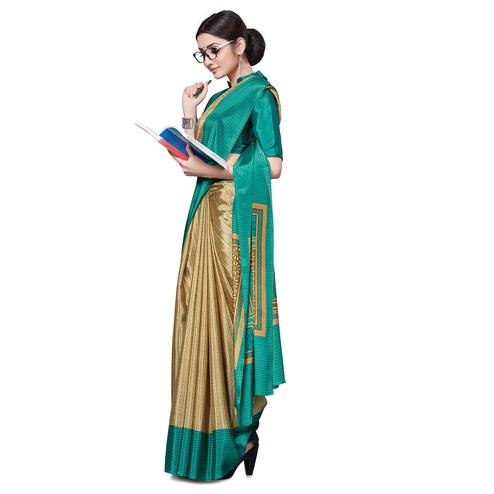 Blissful Beige-Green Colored Casual Wear Printed Crepe Saree