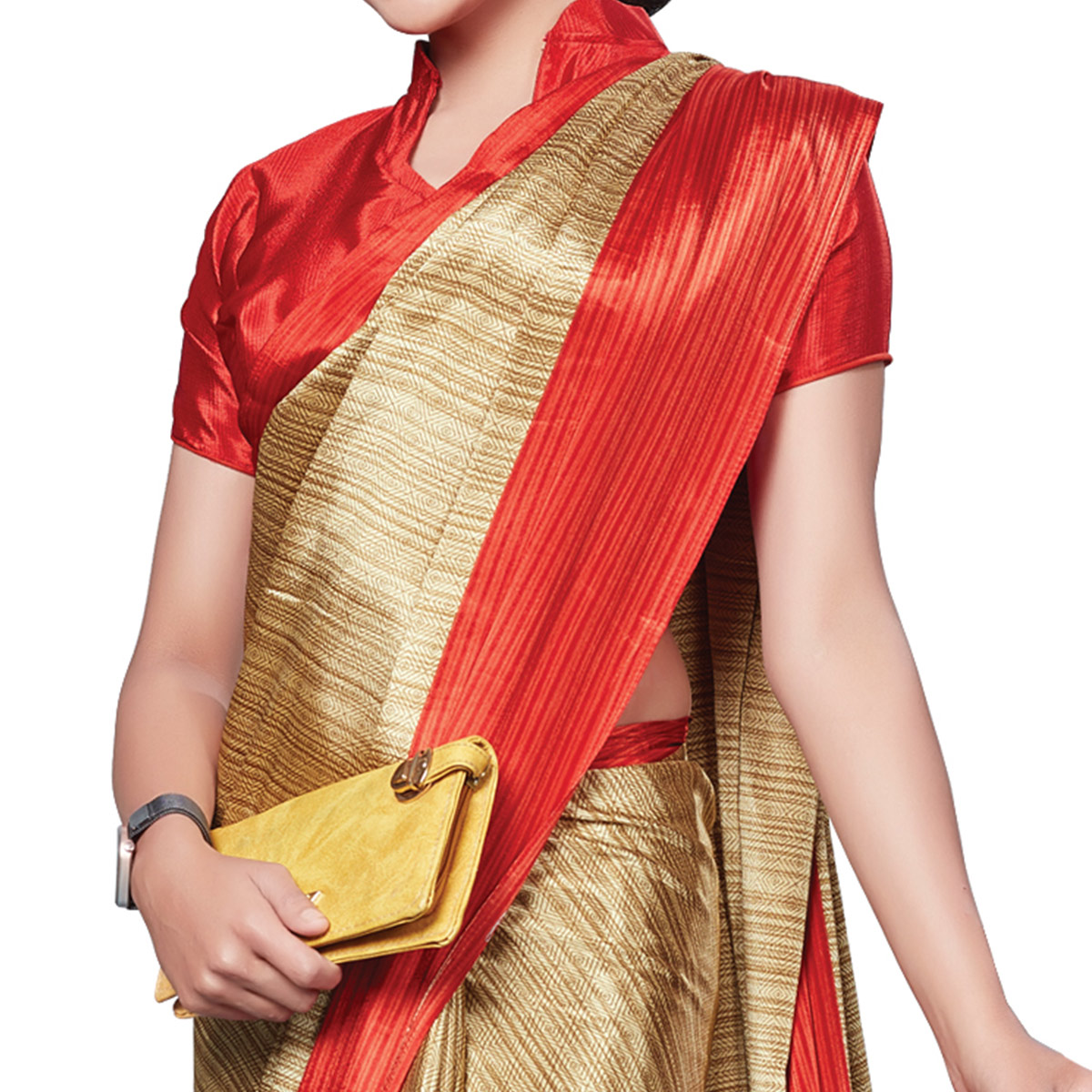 Ideal Beige-Red Colored Casual Wear Printed Crepe Saree