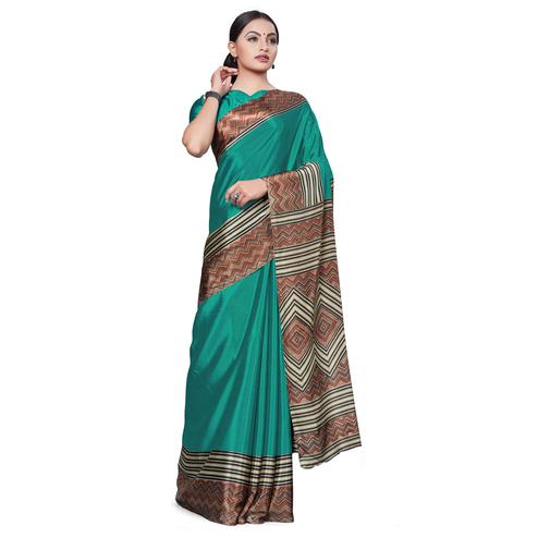 Imposing Dark Turquoise Colored Casual Wear Printed Crepe Saree