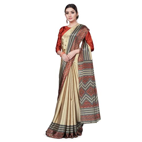 Lovely Beige Colored Casual Wear Printed Crepe Saree