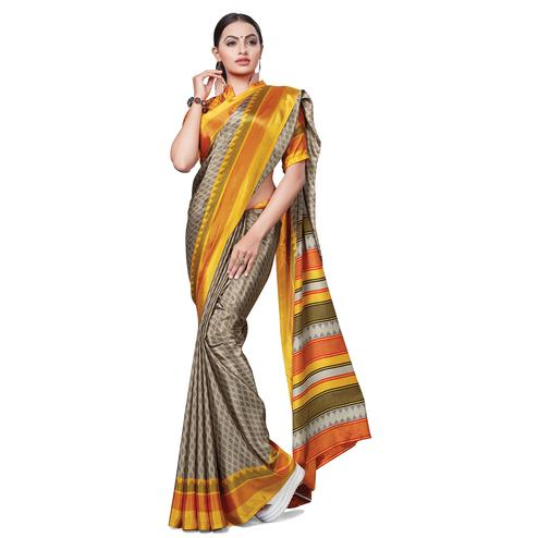 Majesty Grey Colored Casual Wear Printed Crepe Saree