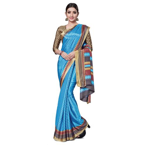 Impressive Sky Blue Colored Casual Wear Printed Crepe Saree