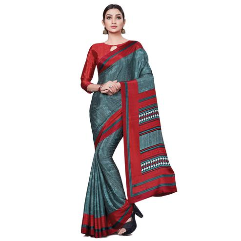 Mesmerising Grey Colored Casual Wear Printed Crepe Saree