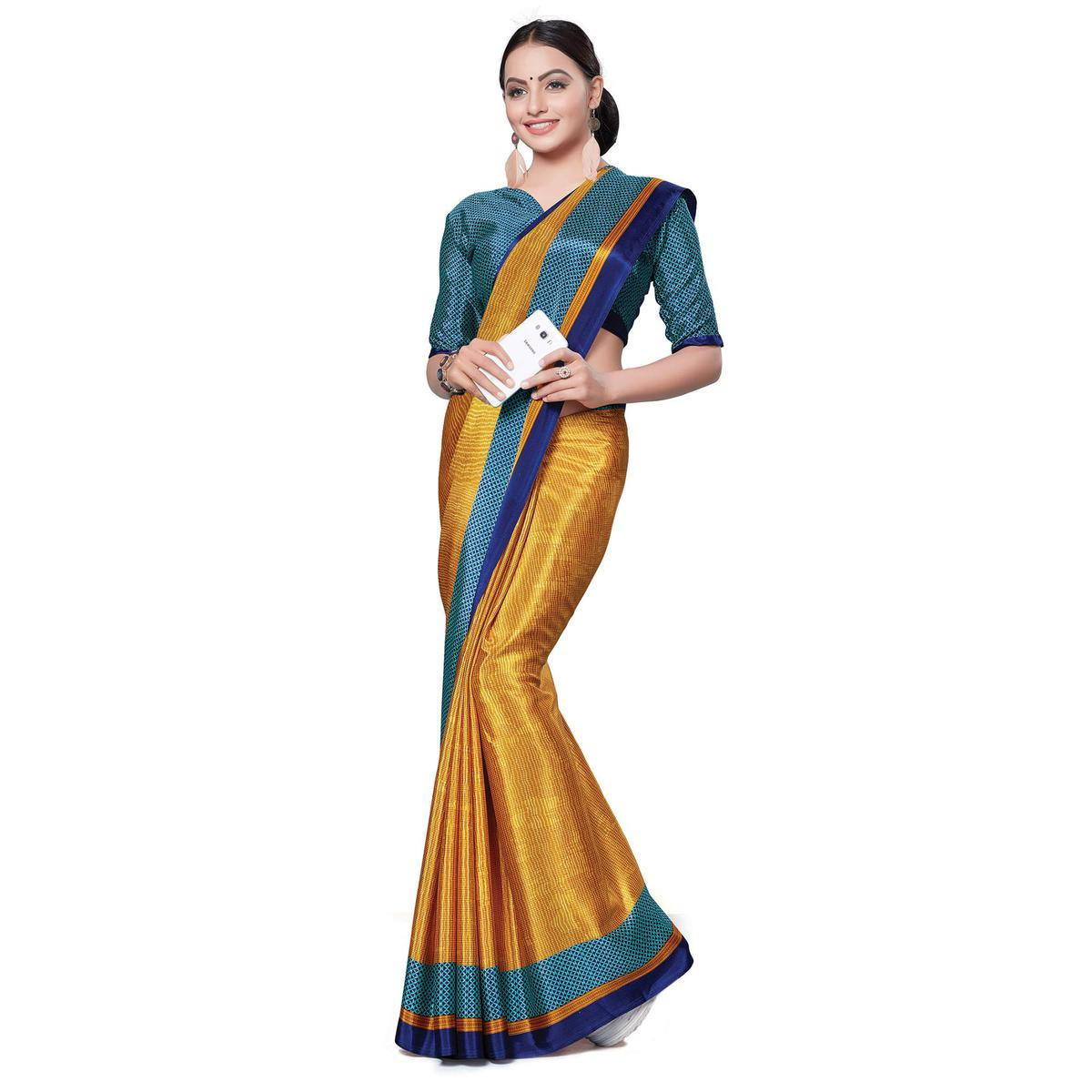 Pleasance Mustard Yellow Colored Casual Wear Printed Crepe Saree
