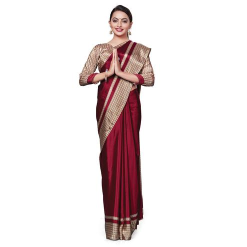 Breathtaking Maroon Colored Casual Wear Printed Crepe Saree
