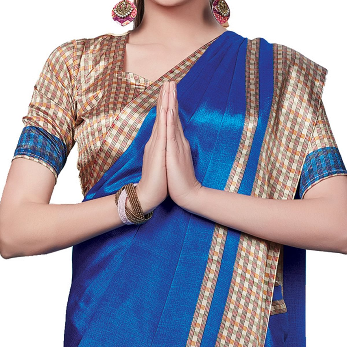 Ethnic Blue Colored Casual Wear Printed Crepe Saree