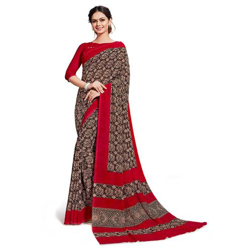 Pleasance Brown Colored Casual Printed Georgette Saree