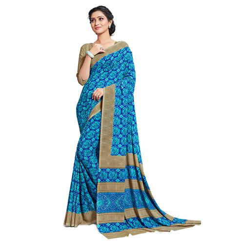 Mesmerising Sky Blue Colored Casual Printed Georgette Saree