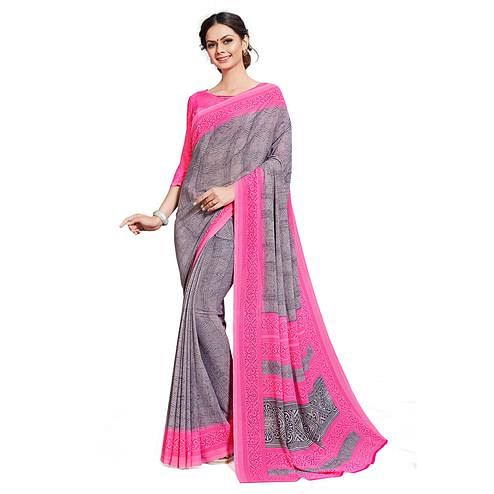 Impressive Grey-Pink Colored Casual Printed Georgette Saree