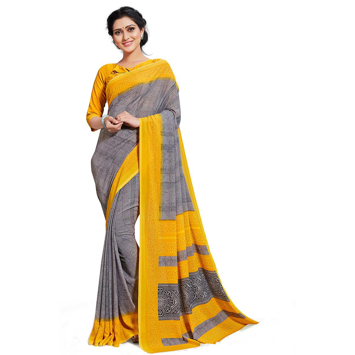 Majesty Grey-Yellow Colored Casual Printed Georgette Saree