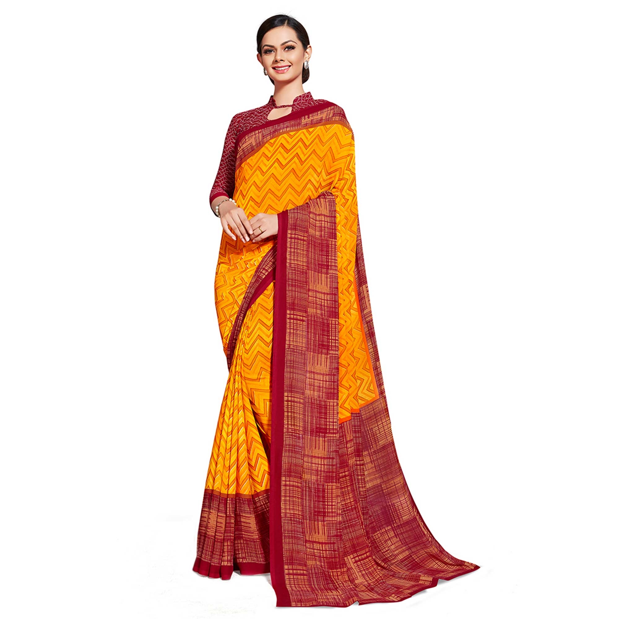 Imposing Yellow Colored Casual Printed Georgette Saree
