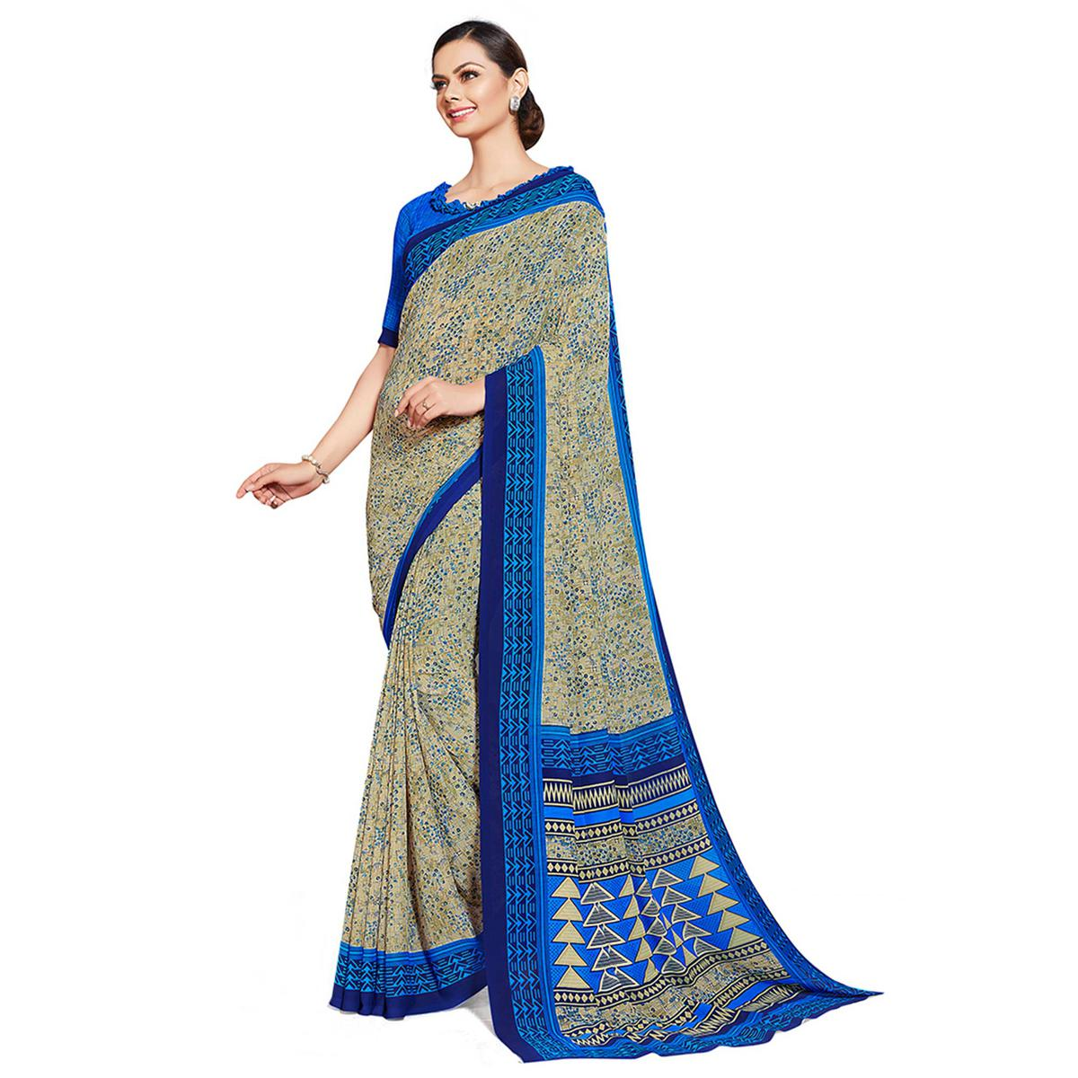 Ideal Beige-Blue Colored Casual Printed Georgette Saree
