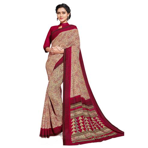 Blissful Beige-Red Colored Casual Printed Georgette Saree