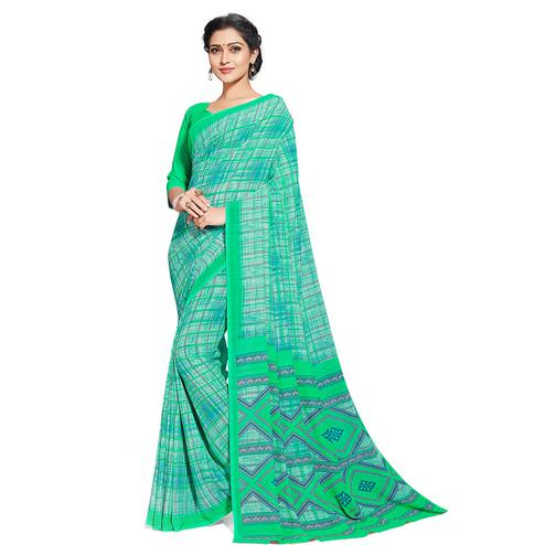Amazing Aqua Green Colored Casual Printed Georgette Saree