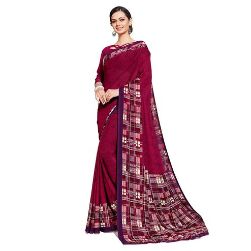 Fantastic Wine Colored Casual Printed Georgette Saree
