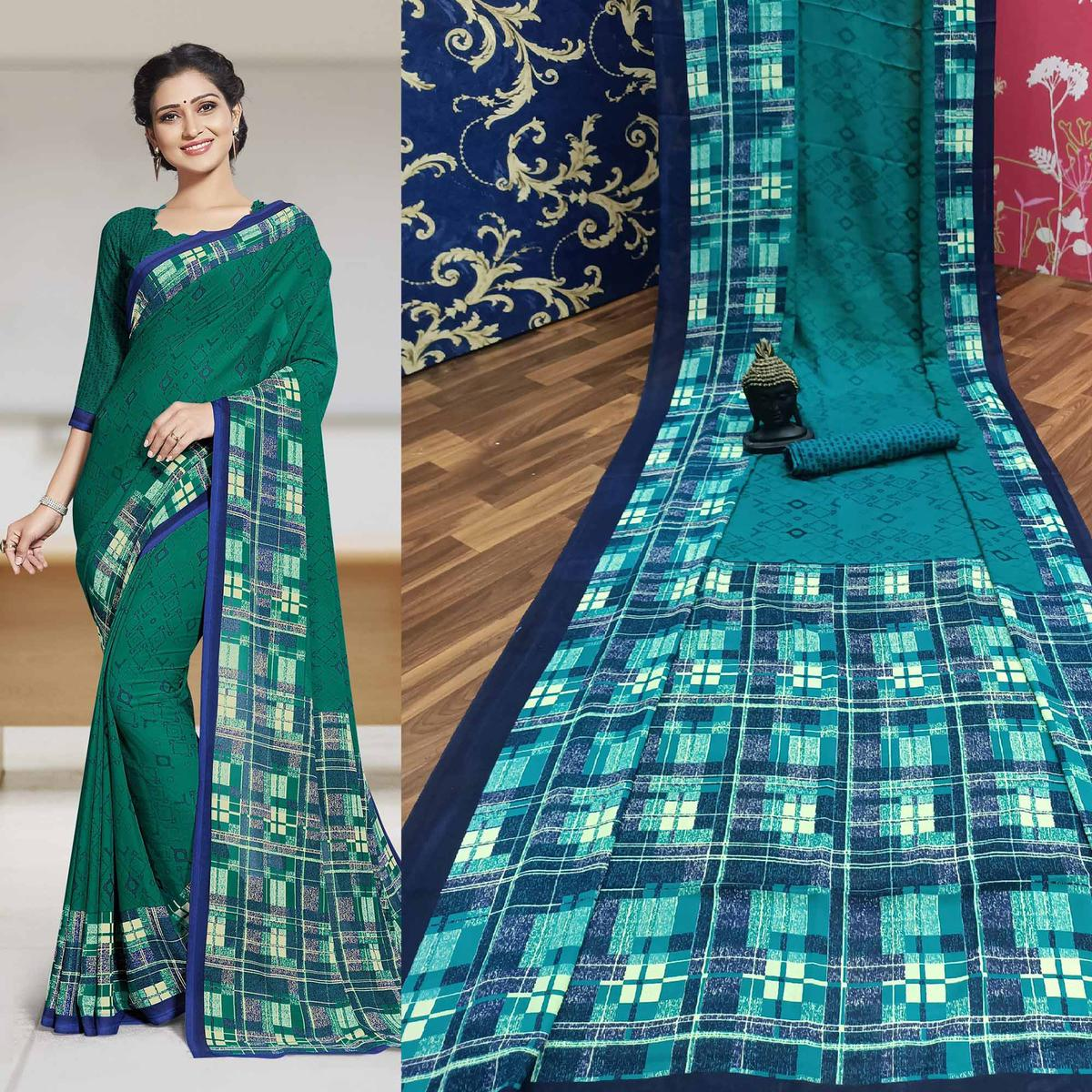 Eye-catching Turquoise Green Colored Casual Printed Georgette Saree