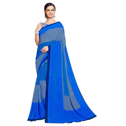 Innovative Blue Colored Casual Printed Georgette Saree